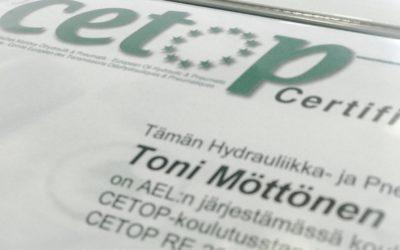 Toni Möttöselle CETOP3 sertifikaatti